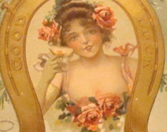 Lovely Embossed Vintage New Year's Postcard (Pretty Lady)