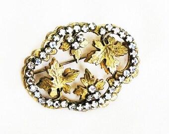 Hobe Rose Montee Gold Leaf Brooch