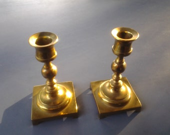 Vintage Pair of Brass Candle Holders