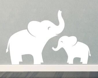 Mom & Baby Elephant Wall Decal Set - Jungle Safari - Children - Boy Girl
