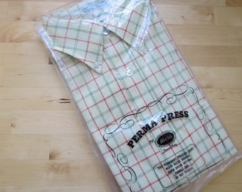 1960s Men's Yellow Plaid Summer Shirt by Moss Kyberweave - Size M NOS Deadstock Short Sleeves (B3)