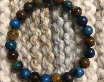 Chrysocolla and Tigers Eye Beaded Stretch Bracelet