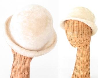 vintage 60s hat * faux fur hat * vintage helmet hat * 1960s hat * white hat * derby hat