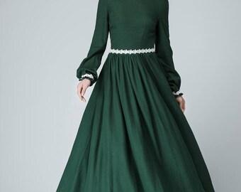 Prom dress, linen dress, white lace dress, Green Dress, women dress, linen maxi dress, long sleeve prom dress, women linen dress  1464