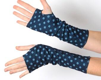 Blue Floral Armlinge, Blue fingerless Handschuhe, Armstulpen, Floral fingerlose Handschuhe, Geschenk für sie, Strumpf Stuffers MALAM