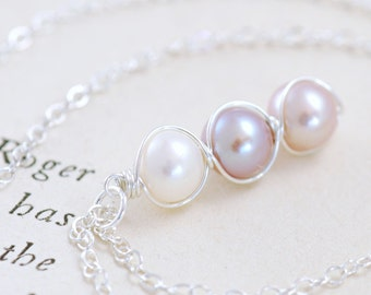 Pastel Pearl Necklace in Sterling Silver, Delicate Handmade Pendant, aubepine