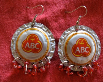 ABC Recycled bottle cap earrings with beaded rings