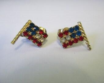Bijoux vintage American flag rouge strass bleu et blanc clip sur bijoux boucle d'oreille