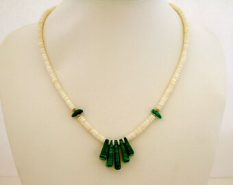 Beautiful Emerald Green Necklace Malachite Pendant Necklace Puka Shell Gift for Her Bestie Gift Under 20 Birthday Gift Anniversary Gift