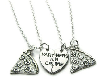 2 Partners In Crime Pizza Necklaces, Best Friends Necklaces, Sisters Necklaces, Pizza Necklaces, Friends Necklaces