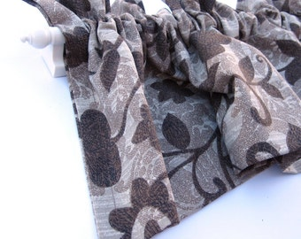 CLEARANCE - was 28 MOROCCO Valance Curtains Brown Leaves  53 inches wide