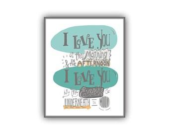 Grey Teal Nursery Print, I Love You in the Morning Skidamarink song wall art, gender neutral baby gift, baby room, gray orange teal nursery