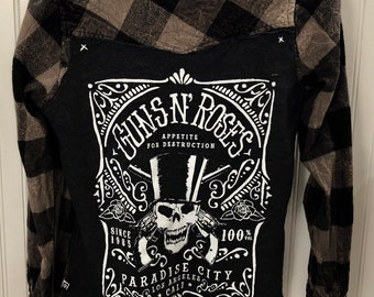 Guns n roses shirt, guns and roses shirt, guns n roses gift, vintage flannel, womens flannel, vintage womens flannel