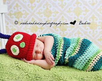 Newborn Caterpillar Photo Prop Costume, Newborn Baby Halloween Costume