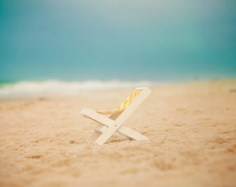 Baby Beach Lounge Chair on the Ocean with Waves, Sand, and Sky Digital Background/Digital Backdrop
