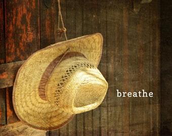 Breathe word art poster, summer sentiment, relaxing word print, calming, zen, photo typography, straw fedora hat