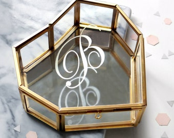 Custom Initial Hexagon Jewelry Box Gift For Bridesmaid Glass