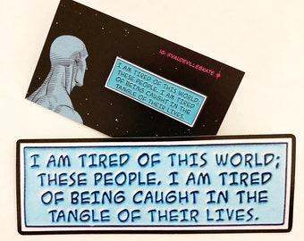 Watchmen Dr. Manhattan Enamel Pin & Vinyl Sticker Decal Set Quote DC Comics Rorschach Moore Lapel Pin