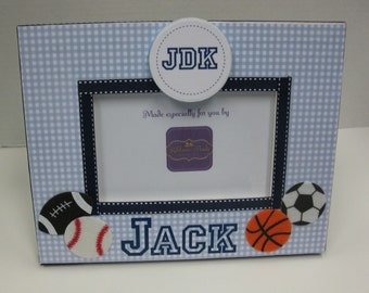 Sports Frame with Name and Monogram holds 4x6 picture