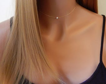 Opal Choker Necklace • Gold, Rose Gold, or Silver Minimal Necklace • Layering Girlfriend Gift for Her