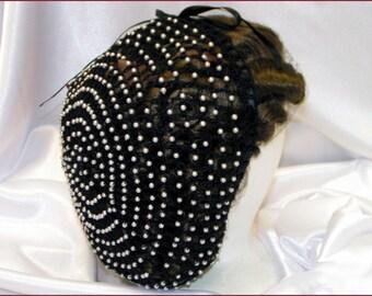 1800's Civil War Victorian Black Snood with Pearls Hair Net Handmade 100% cotton