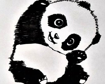 ORIGINAL ARTWORK Cute Panda