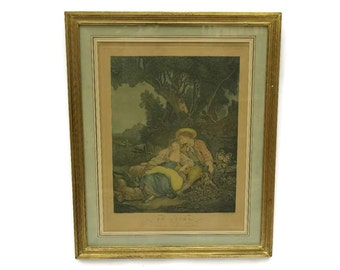 French Antique Engraving Le Repos by Bonnefoy after Boucher. Romantic French Framed Pastoral Print.