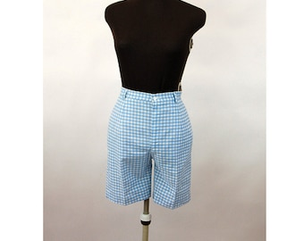 1960s shorts Bermuda shorts blue white checked gingham 60s sportswear cotton shorts Size S