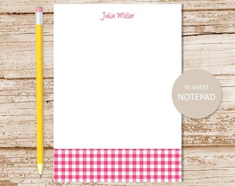 gingham personalized notepad . gingham checked note pad . personalized stationery . custom stationary