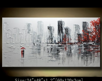 Abstract Wall Painting,Palette Knife Abstract Painting,Textured Painting,,Landscape Painting ,Park Lights Painting  on Canvas, by Chen new50