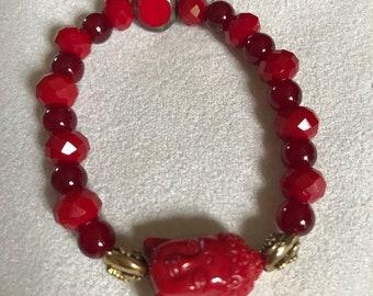 Gorgeous deep red zen bracelet