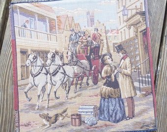 French Needlepoint Tapestry Victorian  Romantic Street Scene, Horse and Carriage, Travel  unmounted 10 x 9 3/4 Made in France