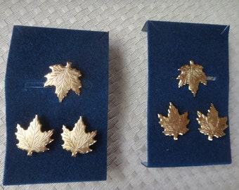 Maple leaf cufflink and tie pin sets Gold 1970's Canada