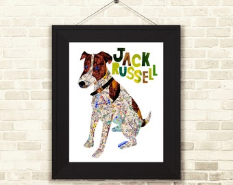 Jack Russell-jack russell art print-Jack Russell gift-dog gift-Jack Russell home decor-dog decor-Dog print
