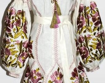 Ukrainian Embroidery Boho Dress Vyshyvanka Bohemian Clothing Wedding Embroidered Dresses Vishivanka Trapeze Ethnic Ukraine Abaya Ivory
