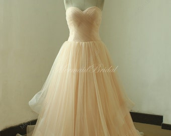 Blush romantic A line wedding dress,prom dress