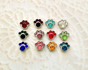 Paw birthstone floating charms