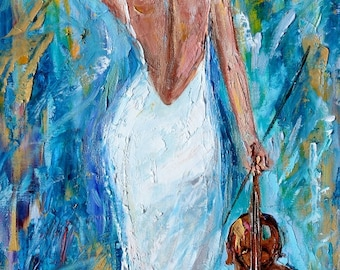 Violin Melody painting original music series palette knife oil paint impressionism and mixed media on canvas art by Karen Tarlton