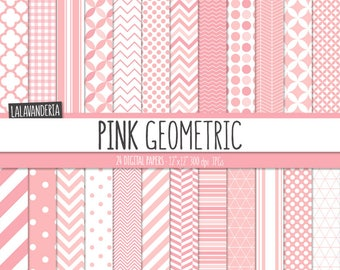 Geometric Digital Paper Package with Pink Backgrounds. Printable Papers Set - Pink Geometric Patterns. Digital Scrapbook. Instant Download