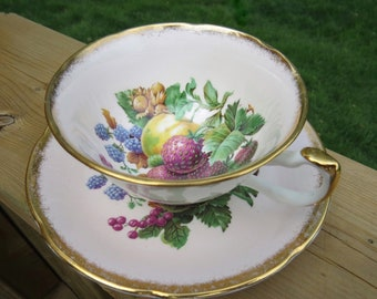 Pink Tea Cup and Saucer with Fruit Motif Centre, Royal Grafton, Vintage Fine Bone China