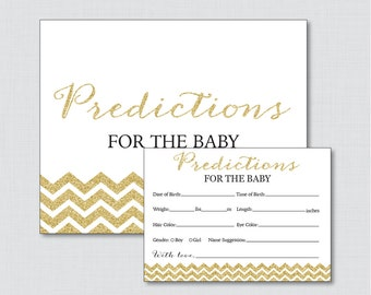 Gold Baby Shower Prediction Cards - Instant Download - Gold Glitter Baby Statistics Game Guess Baby's Birthday, Weight - Glitter Chevron