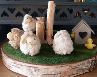 Les moutons au jardin Décoration de printemps été