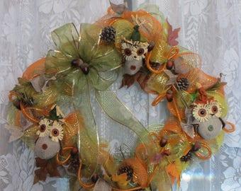 Thanksgiving Wreath, Fall Wreath, Autumn Wreath, Harvest Wreath, Owls, Acorns, Pine Cones