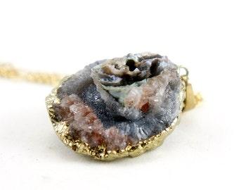 OOAK Raw Druzy Necklace - Natural Agate Druzy Pendant Necklace - Sparkle Galaxy Druzy - DGN33