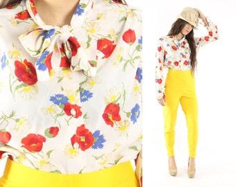 Vintage 70s Floral Blouse Ascot Top Button Up Shirt Long Sleeve Shirt Bold Print Blouse 1970s Hippie Blouse Large L