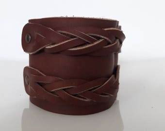 Bracelet Brown fat smooth cowhide leather
