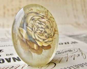 Pastel green peony flower, handmade glass oval cabochon, Fabulous Florals collection, vintage flower 40x30mm, sage green
