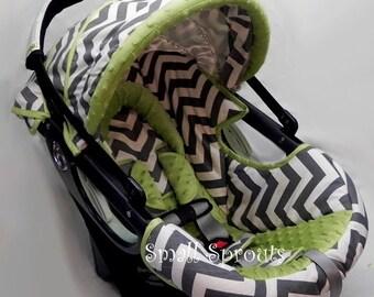Chevron Grey and White/Kiwi MInky Dot Infant Car Seat Cover 5 Piece set