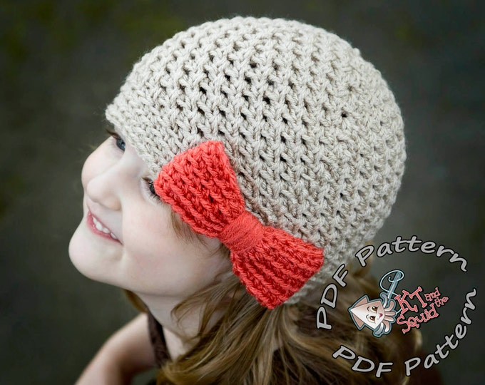 Girls crochet hat pattern. Crochet hat pattern with bow, newborn, baby child toddler adult, instant download, crochet pattern