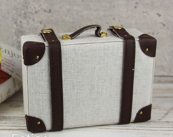 Doll BJD Dollfie Vintage Leather Miniature suitcase Trunk Bag - White & Brown Leather strips
